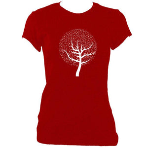 update alt-text with template Musical Notes Tree Ladies Fitted T-shirt - T-shirt - Antique Cherry Red - Mudchutney