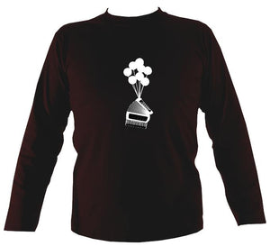 Banksy Style Accordion Mens Long Sleeve Shirt - Long Sleeved Shirt - Dark chocolate - Mudchutney