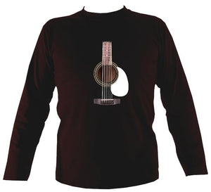 Guitar Strings and Neck Mens Long Sleeve Shirt - Long Sleeved Shirt - Dark chocolate - Mudchutney