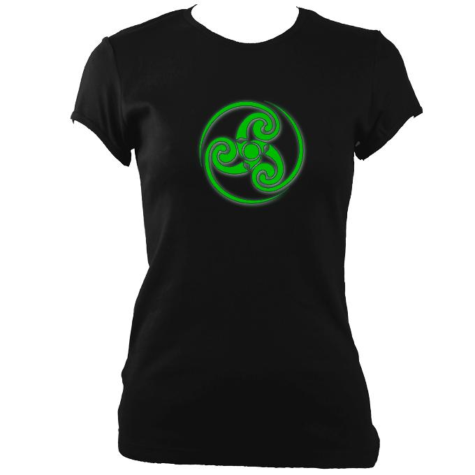 update alt-text with template Celtic Tribal Spiral Ladies Fitted T-shirt - T-shirt - Black - Mudchutney