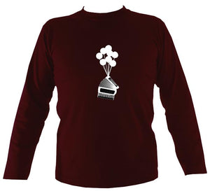 Banksy Style Accordion Mens Long Sleeve Shirt - Long Sleeved Shirt - Maroon - Mudchutney