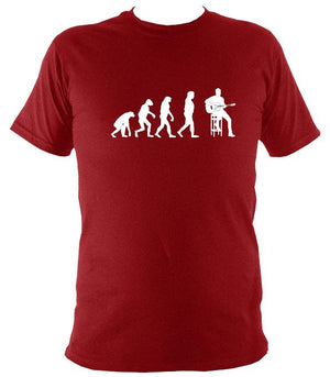 Evolution of Guitar Players T-shirt - T-shirt - Antique Cherry Red - Mudchutney