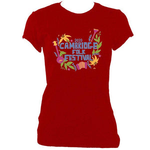 update alt-text with template Cambridge Folk Festival - Design 4 - Women's Fitted T-Shirt - T-shirt - White - Mudchutney