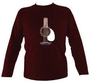 Guitar Strings and Neck Mens Long Sleeve Shirt - Long Sleeved Shirt - Maroon - Mudchutney