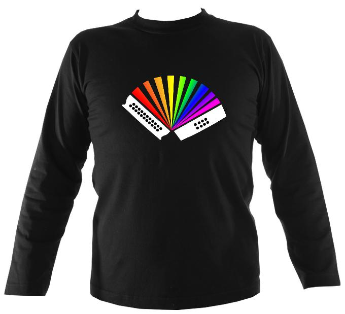Rainbow Melodeon Mens Long Sleeve Shirt - Long Sleeved Shirt - Black - Mudchutney