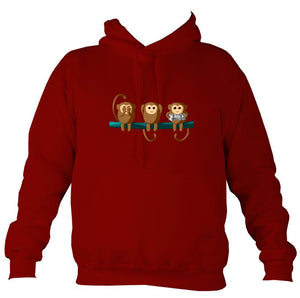 Play No Concertina Monkey Hoodie-Hoodie-Red hot chilli-Mudchutney