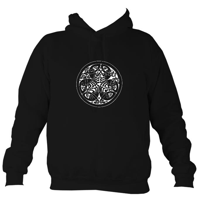 Interlaced Celtic Birds Motif Hoodie-Hoodie-Jet black-Mudchutney