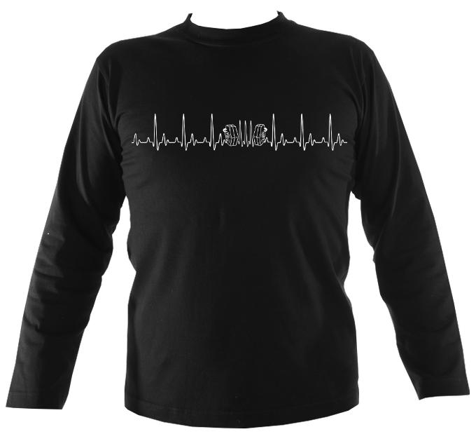 Heartbeat Concertina Mens Long Sleeve Shirt - Long Sleeved Shirt - Navy - Mudchutney