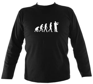 Evolution of Flute Players Mens Long Sleeve Shirt - Long Sleeved Shirt - Black - Mudchutney