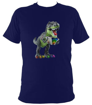 Rainbow Dinosaur Playing Accordion T-shirt - T-shirt - Navy - Mudchutney