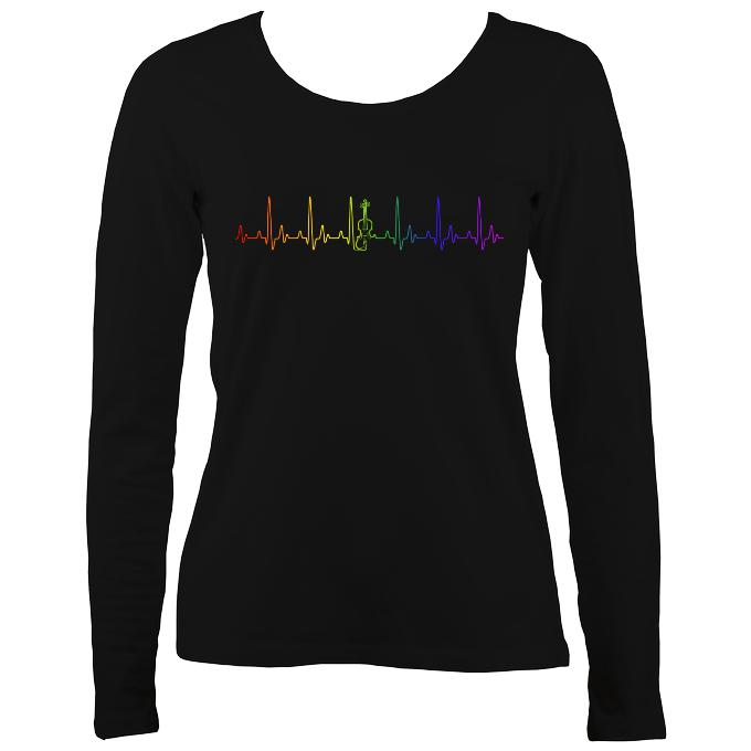 Heartbeat Fiddle in Rainbow Colours Ladies Long Sleeve Shirt - Long Sleeved Shirt - Black - Mudchutney