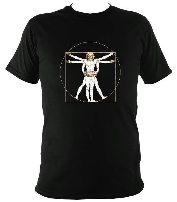 Da Vinci Vitruvian Man Playing Concertina T-Shirt - T-shirt - Black - Mudchutney
