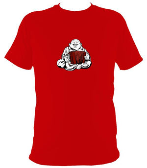 Piano Accordion Playing Buddha T-shirt - T-shirt - Red - Mudchutney