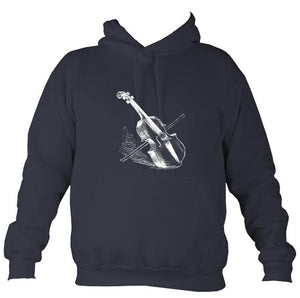 Fiddle and Bow Sketch Hoodie-Hoodie-Denim-Mudchutney