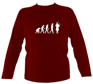 Evolution of Bagpipe Players Mens Long Sleeve Shirt - Long Sleeved Shirt - Cardinal red - Mudchutney