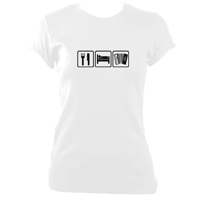 update alt-text with template Eat, Sleep, Play Melodeon Ladies Fitted T-shirt - T-shirt - White - Mudchutney