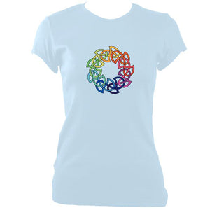 update alt-text with template Rainbow Celtic Knot Ladies Fitted T-shirt - T-shirt - Light Blue - Mudchutney