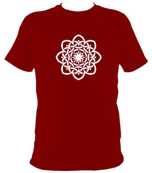 Inter-woven Celtic Flower T-shirt - T-shirt - Cardinal Red - Mudchutney