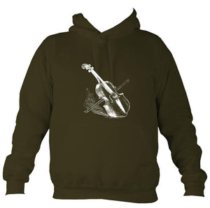 Fiddle and Bow Sketch Hoodie-Hoodie-Olive green-Mudchutney