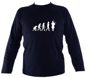 Evolution of Bagpipe Players Mens Long Sleeve Shirt - Long Sleeved Shirt - Navy - Mudchutney
