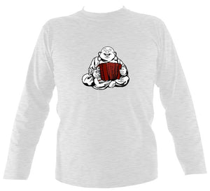 Piano Accordion Playing Buddha Mens Long Sleeve Shirt - Long Sleeved Shirt - Ash - Mudchutney