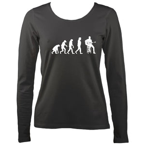 Evolution of Guitar Players Ladies Long Sleeve Shirt - Long Sleeved Shirt - Charcoal - Mudchutney