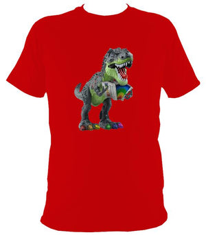 Rainbow Dinosaur Playing Accordion T-shirt - T-shirt - Red - Mudchutney