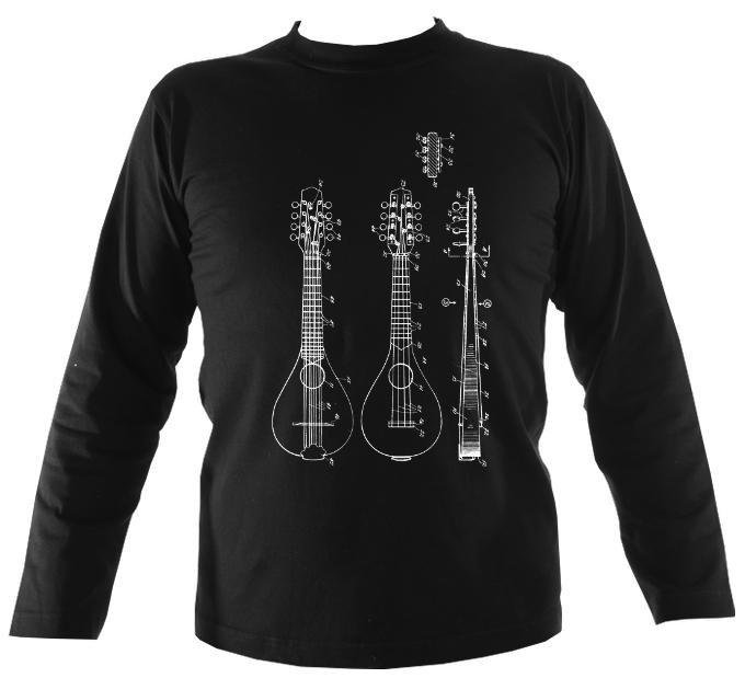 Mandolin Patent Mens Long Sleeve Shirt - Long Sleeved Shirt - Black - Mudchutney