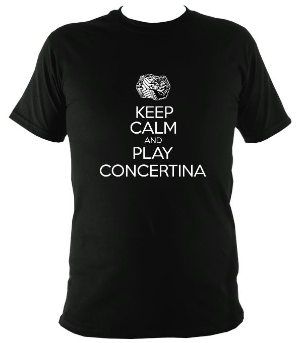 Keep Calm & Play English Concertina T-shirt - T-shirt - Black - Mudchutney