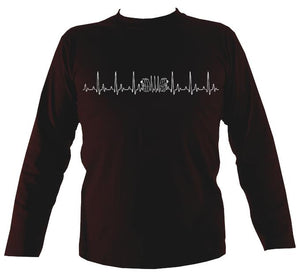 Heartbeat Concertina Mens Long Sleeve Shirt - Long Sleeved Shirt - Dark chocolate - Mudchutney