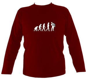 Evolution of Accordion Players Mens Long Sleeve Shirt - Long Sleeved Shirt - Cardinal red - Mudchutney