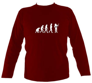 Evolution of Banjo Players Mens Long Sleeve Shirt - Long Sleeved Shirt - Cardinal red - Mudchutney