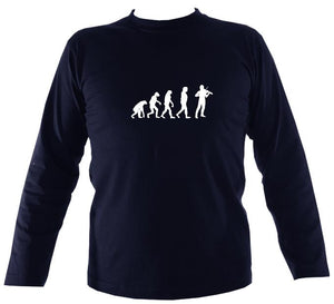 Evolution of Fiddle Players Mens Long Sleeve Shirt - Long Sleeved Shirt - Navy - Mudchutney