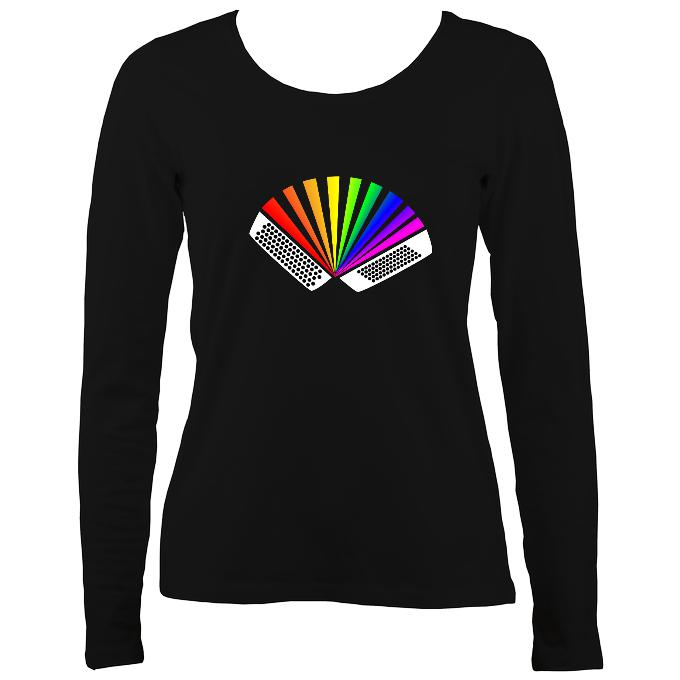 Rainbow Chromatic Accordion Ladies Long Sleeve Shirt - Long Sleeved Shirt - Black - Mudchutney