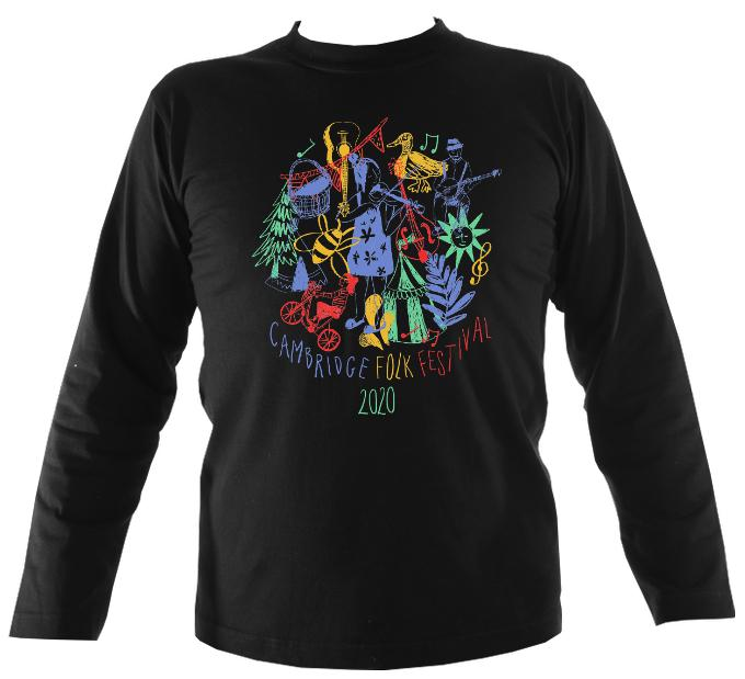 Cambridge Folk Festival - Design 9 - Mens Long Sleeve Shirt - Long Sleeved Shirt - Black - Mudchutney