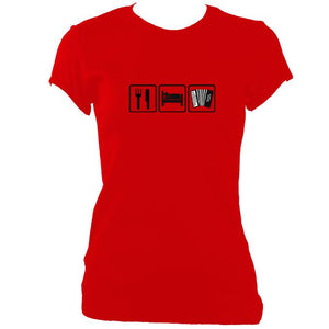 update alt-text with template Eat, Sleep, Play Melodeon Ladies Fitted T-shirt - T-shirt - Red - Mudchutney