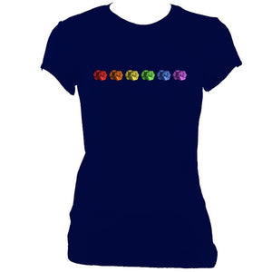 update alt-text with template Rainbow of Concertinas Ladies Fitted T-shirt - T-shirt - Navy - Mudchutney