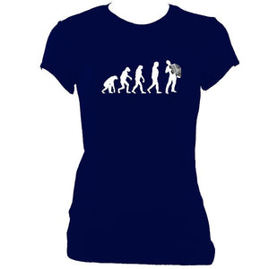 update alt-text with template Evolution of Accordion Players Ladies Fitted T-shirt - T-shirt - Navy - Mudchutney