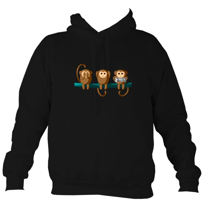 """Play No Concertina"" Monkey Hoodie-Hoodie-Jet black-Mudchutney"