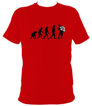 Evolution of Accordion Players T-shirt - T-shirt - Red - Mudchutney