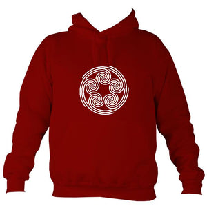 Celtic Five Spirals Hoodie-Hoodie-Red hot chilli-Mudchutney
