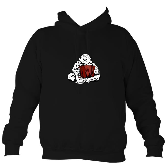 Piano Accordion Playing Buddha Hoodie-Hoodie-Jet black-Mudchutney