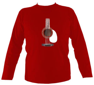 Guitar Strings and Neck Mens Long Sleeve Shirt - Long Sleeved Shirt - Red - Mudchutney