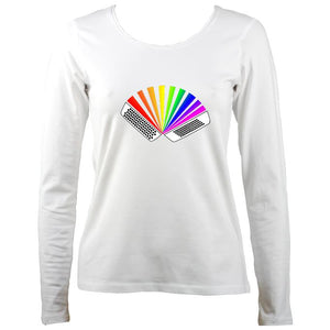 Rainbow Chromatic Accordion Ladies Long Sleeve Shirt - Long Sleeved Shirt - White - Mudchutney