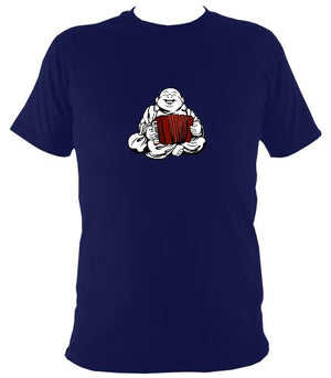 Piano Accordion Playing Buddha T-shirt - T-shirt - Navy - Mudchutney