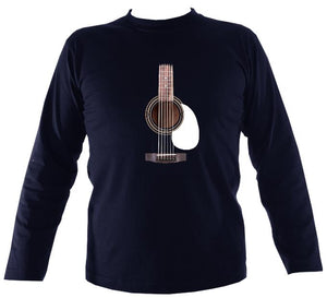 Guitar Strings and Neck Mens Long Sleeve Shirt - Long Sleeved Shirt - Navy - Mudchutney