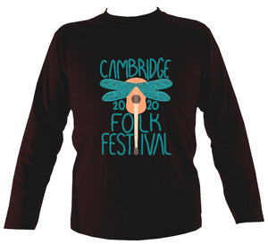 Cambridge Folk Festival - Design 1 - Mens Long Sleeve Shirt - Long Sleeved Shirt - Dark chocolate - Mudchutney