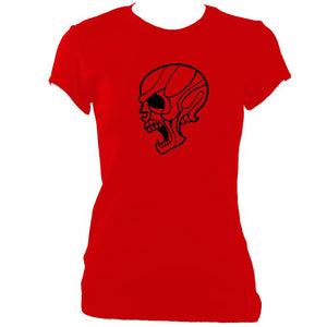 update alt-text with template Angry Skull Ladies Fitted T-Shirt - T-shirt - Red - Mudchutney