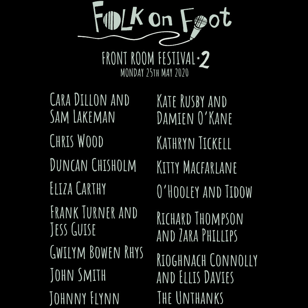 "update alt-text with template """"Folk on Foot ""Front Room Festival 2"" Ladies Fitted T-shirt - T-shirt - Black - Mudchutney"