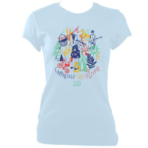 update alt-text with template Cambridge Folk Festival - Design 9 - Women's Fitted T-shirt - T-shirt - Light Blue - Mudchutney